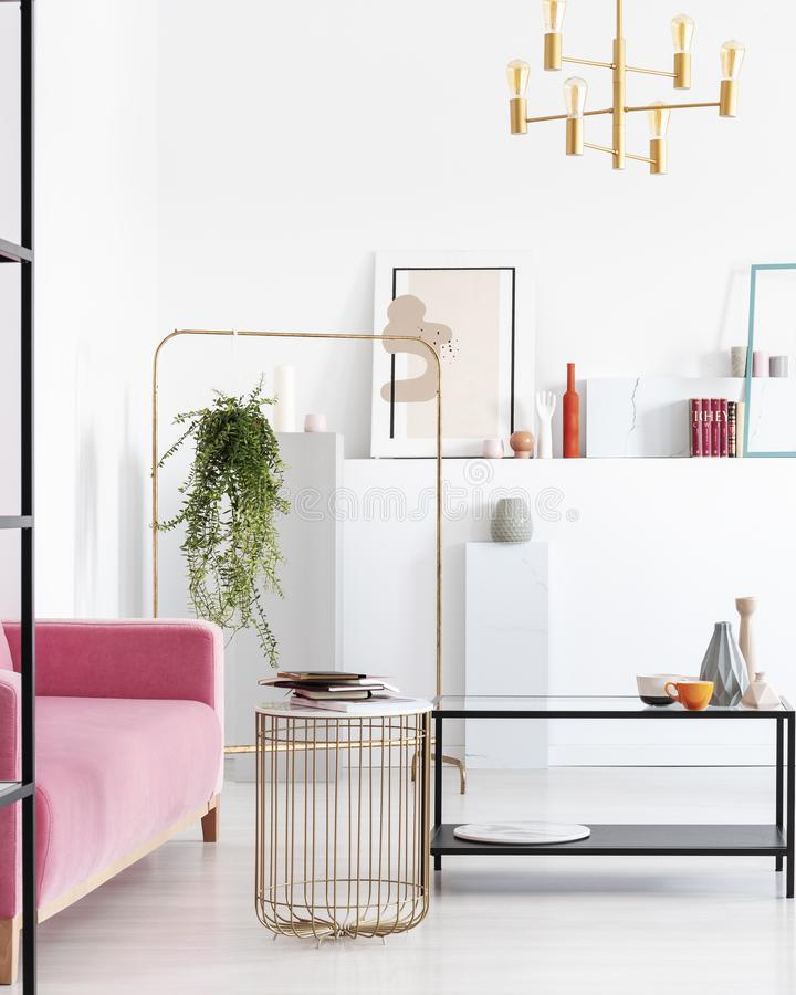 Vista vertical de la sala de estar en el apartamento del colector del arte con los detalles de oro fotografía de archivo
