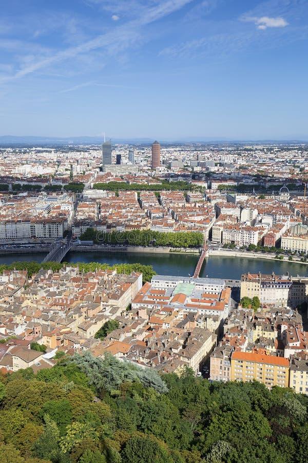 Vista vertical de Lyon imagen de archivo libre de regalías