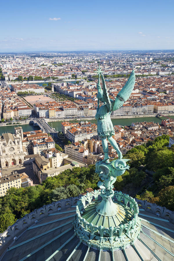 Vista vertical de Lyon foto de archivo libre de regalías