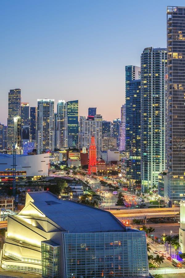 Vista vertical de Miami céntrica fotografía de archivo