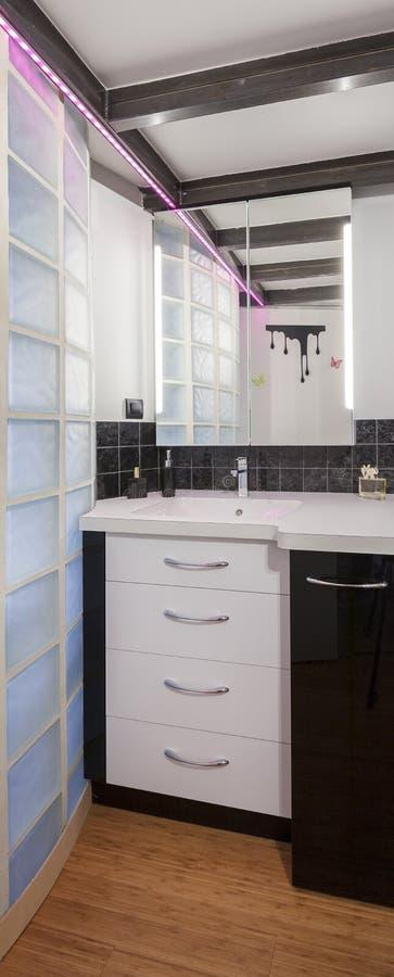 Vista vertical del cuarto de baño elegante imagen de archivo
