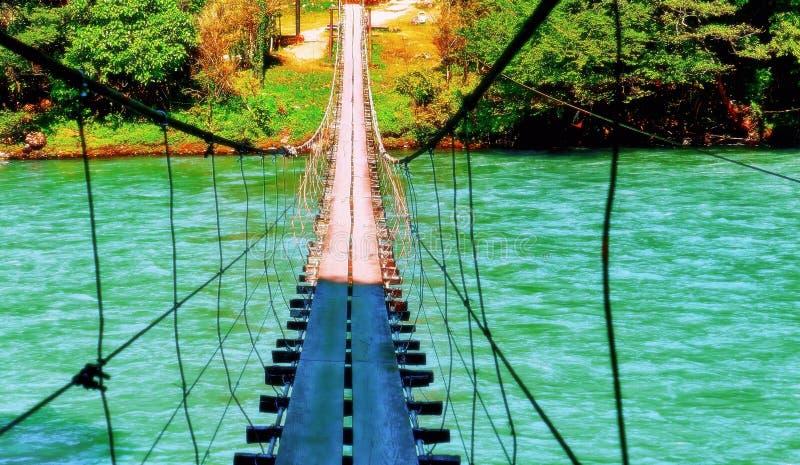 Vista vibrante del puente de madera de la vieja cuerda que cuelga sobre el río frío salvaje en verano imagenes de archivo