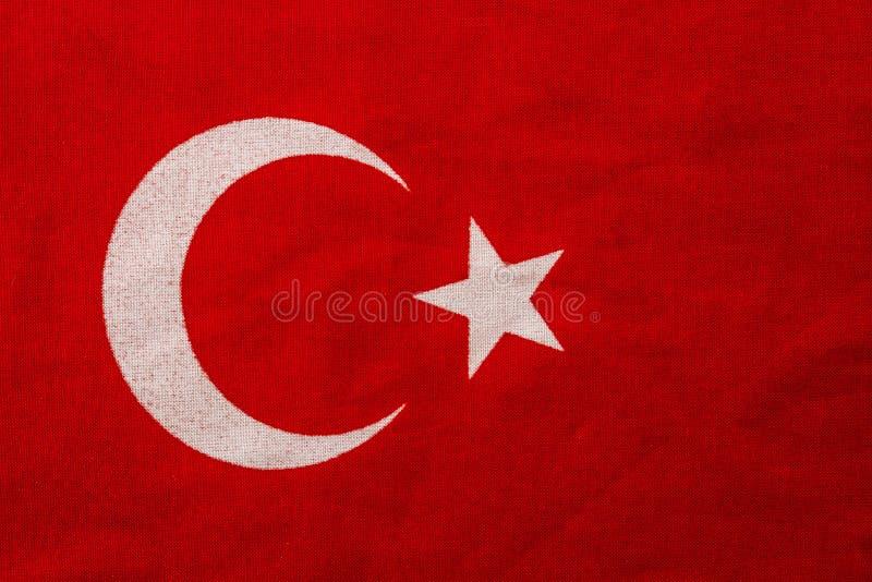 Vista vicina della bandiera turca rossa fotografie stock