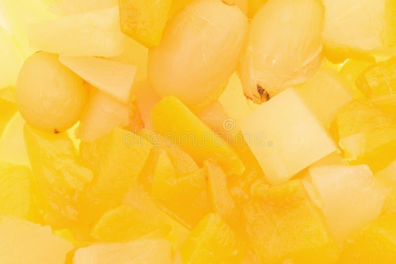 Vista vicina di frutta in scatola immagine stock libera da diritti