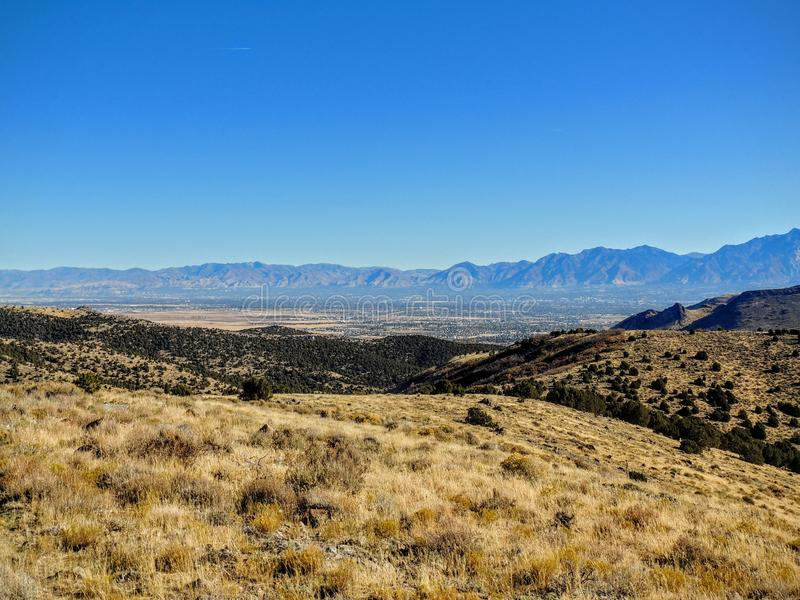 View of the Salt Lake Valley and Wasatch Front desert Mountains in Autumn Fall hiking Rose Canyon Yellow Fork, Big Rock and Waterf. Vista View of the Salt Lake stock images