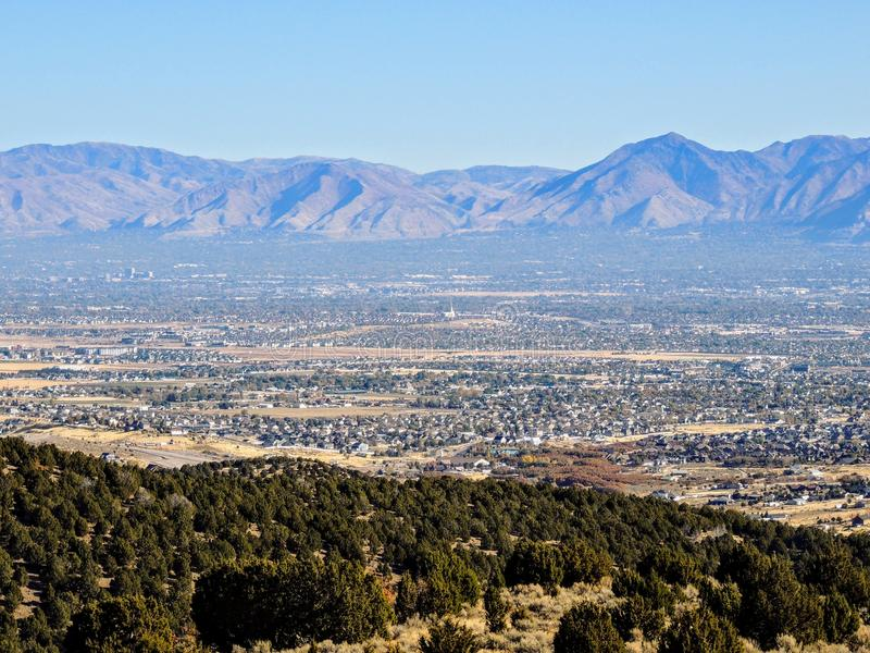 View of the Salt Lake Valley and Wasatch Front desert Mountains in Autumn Fall hiking Rose Canyon Yellow Fork, Big Rock and Waterf. Vista View of the Salt Lake royalty free stock photo