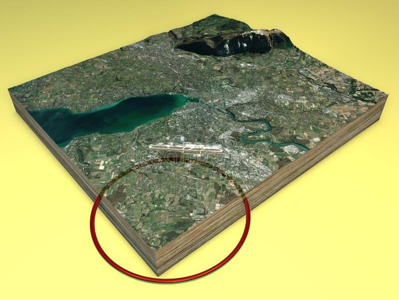 Vista y sección 3d del terreno, mapa de Ginebra y CERN por satélite Túnel y mapa del centro de investigación nuclear libre illustration