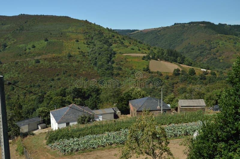 Vistas aéreas hermosas del pueblo de Villardoi en el campo de Galicia Naturaleza, paisajes, botánica, viaje 2 de agosto de 2015 fotografía de archivo