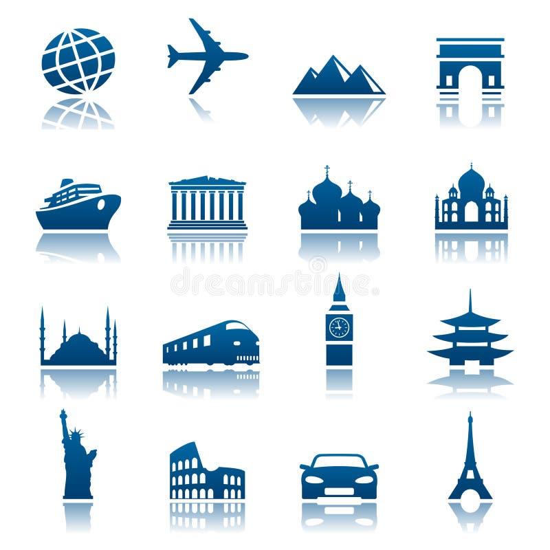 Vistas & ícones do transporte ilustração royalty free