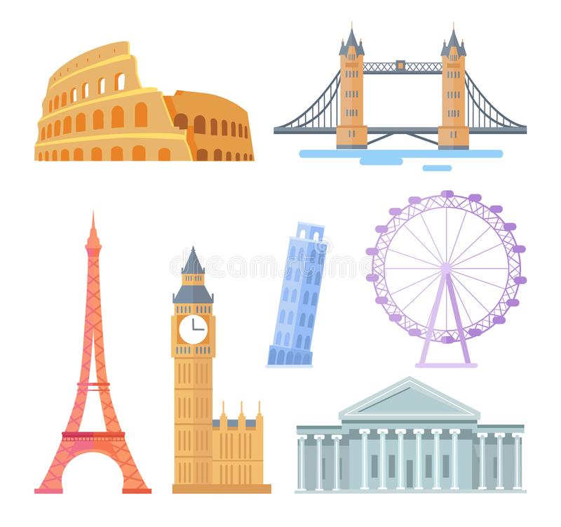 Vistas arquitetónicas turísticas do mundo popular ajustadas ilustração stock