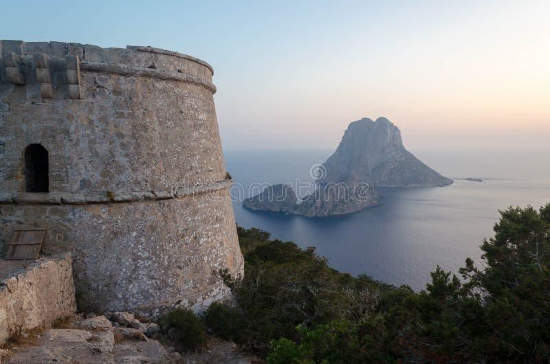 Vistas bonitas da torre do Es Savinar ibiza imagens de stock royalty free