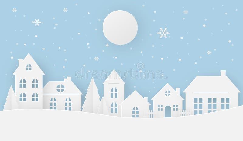Vistas da casa no inverno em um dia nevado com Lua cheia ilustração do vetor