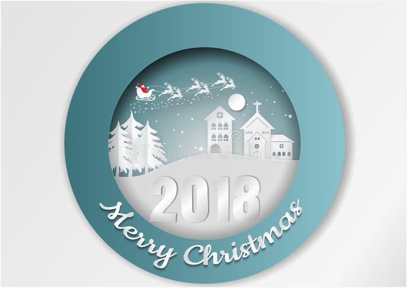 Vistas da casa no inverno A vila urbana da cidade da paisagem do campo da neve com ano novo feliz e o Feliz Natal, papel cinzelam ilustração do vetor