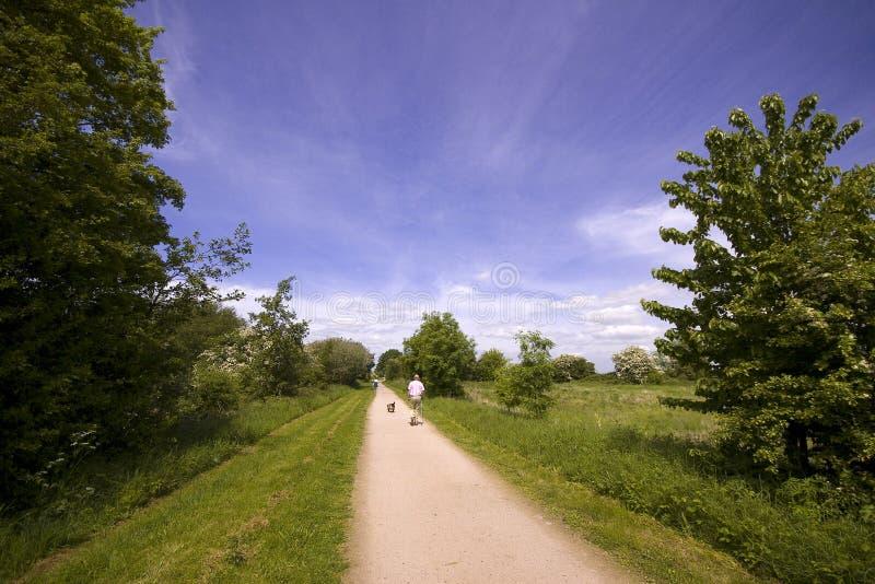 Vistas da estrada de ferro disused da trilha do passeio e de ciclo do Greenway fotografia de stock