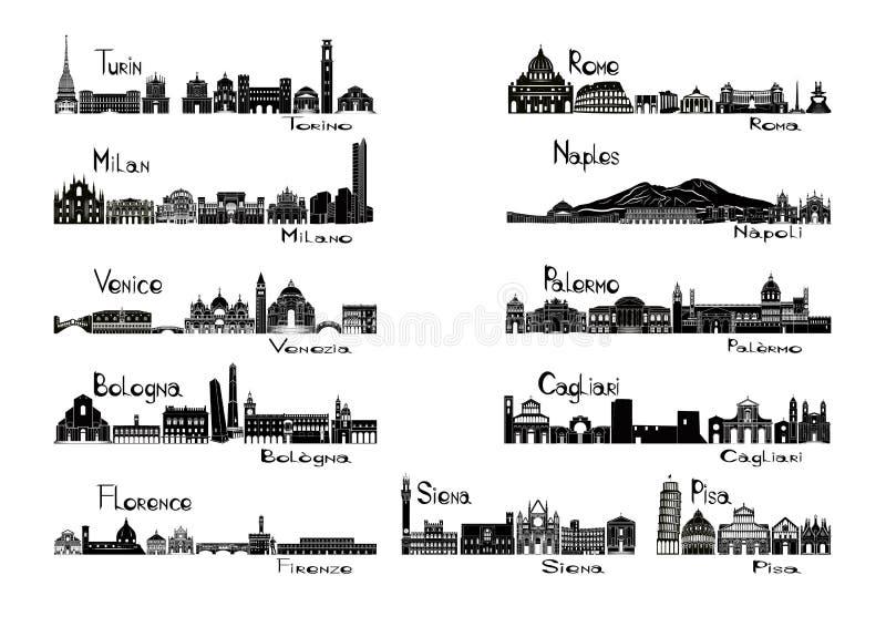 Vistas da silhueta de 11 cidades de Italia ilustração do vetor