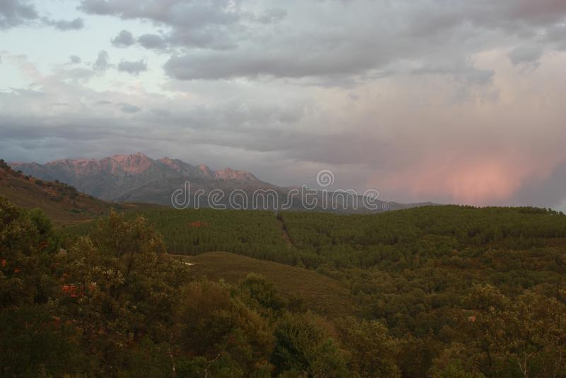 Vistas das árvores nas montanhas, 'Serra de Gredos ', 'La Vera ' imagens de stock royalty free