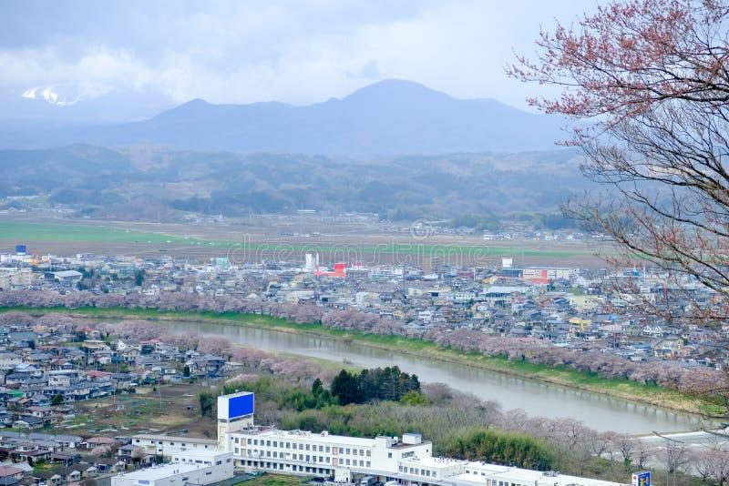 Vistas das flores de cerejeira em Shiroishi RiversideHitome Senbonzakura ou mil árvores de cereja na vista e na cordilheira de Za fotos de stock royalty free