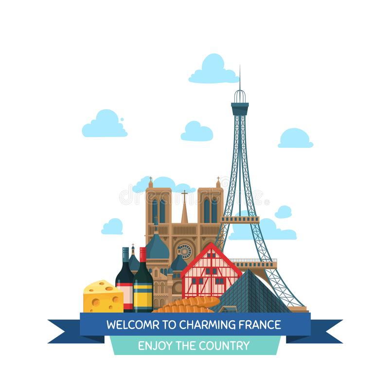 Vistas de França dos desenhos animados do vetor e ilustração royalty free
