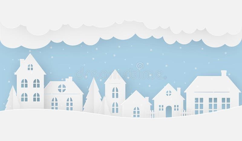 Vistas de la casa en invierno en un día nevoso ilustración del vector
