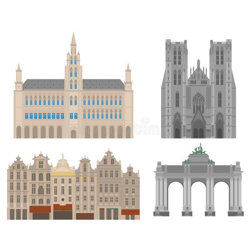 Vistas de la ciudad Señal de la arquitectura de Bruselas Elementos planos del viaje del país de Bélgica Catedral de San Miguel y  ilustración del vector