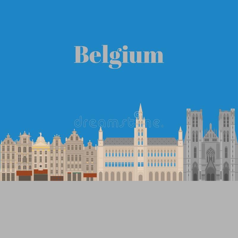 Vistas de la ciudad Señal de la arquitectura de Bruselas Elementos planos del viaje del país de Bélgica Lugar magnífico cuadrado  stock de ilustración