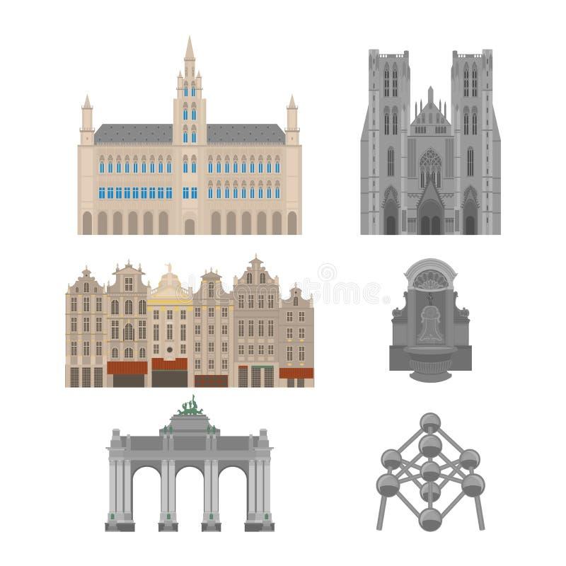 Vistas de la ciudad Señal de la arquitectura de Bruselas Elementos planos del viaje del país de Bélgica Lugar magnífico cuadrado  libre illustration