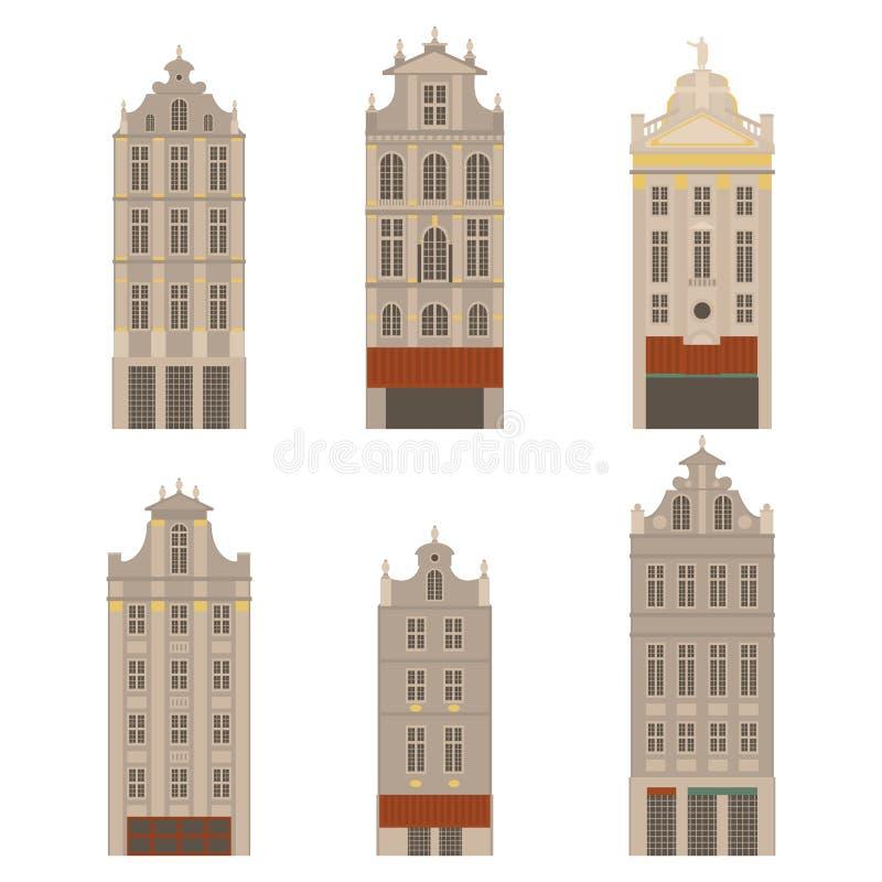 Vistas de la ciudad Señal de la arquitectura de Bruselas Elementos planos del viaje del país de Bélgica Lugar magnífico cuadrado  ilustración del vector