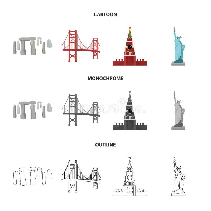 Vistas de la historieta de los países diferentes, esquema, iconos monocromáticos en la colección del sistema para el diseño Vecto stock de ilustración