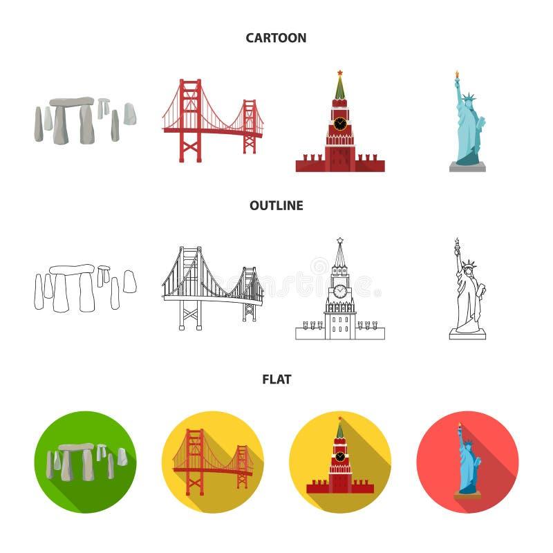 Vistas de la historieta de los países diferentes, esquema, iconos planos en la colección del sistema para el diseño Símbolo famos stock de ilustración