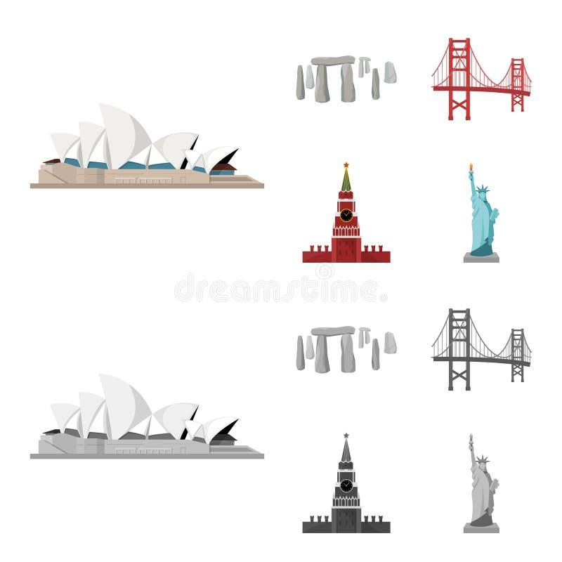 Vistas de la historieta de los países diferentes, iconos monocromáticos en la colección del sistema para el diseño Acción famosa  ilustración del vector