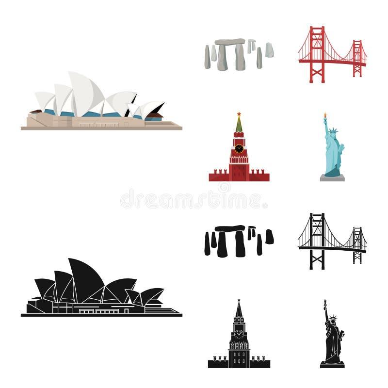 Vistas de la historieta de los países diferentes, iconos negros en la colección del sistema para el diseño Web famoso de la acció stock de ilustración