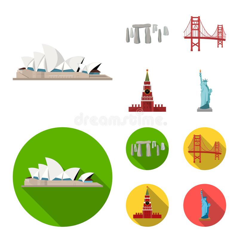 Vistas de la historieta de los países diferentes, iconos planos en la colección del sistema para el diseño Web famoso de la acció stock de ilustración