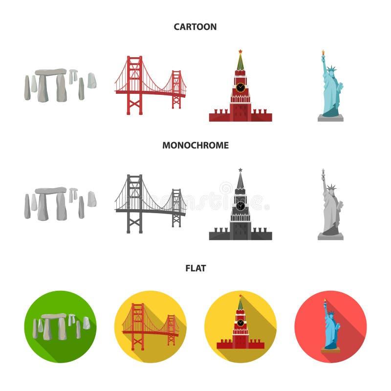 Vistas de la historieta de los países diferentes, iconos planos, monocromáticos en la colección del sistema para el diseño Símbol libre illustration