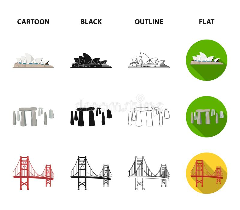 Vistas de la historieta de los países diferentes, negro, esquema, iconos planos en la colección del sistema para el diseño Vector stock de ilustración
