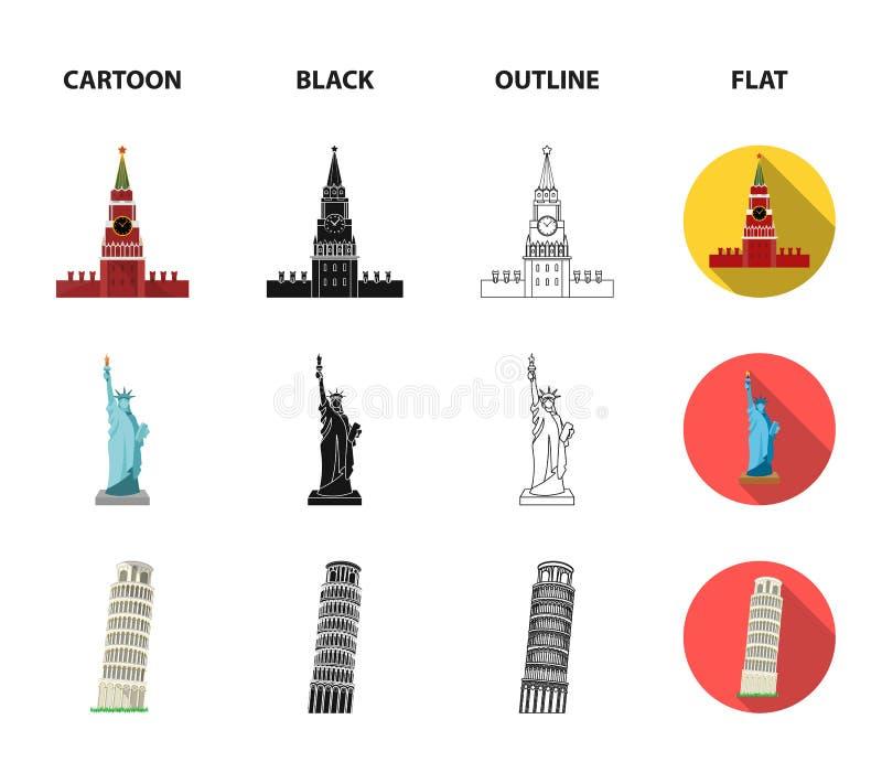 Vistas de la historieta de los países diferentes, negro, esquema, iconos planos en la colección del sistema para el diseño Vector libre illustration