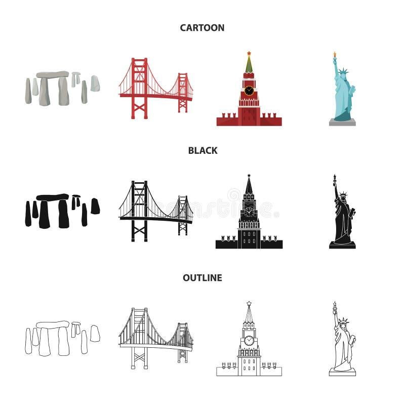 Vistas de la historieta de los países diferentes, negro, iconos del esquema en la colección del sistema para el diseño Símbolo fa libre illustration