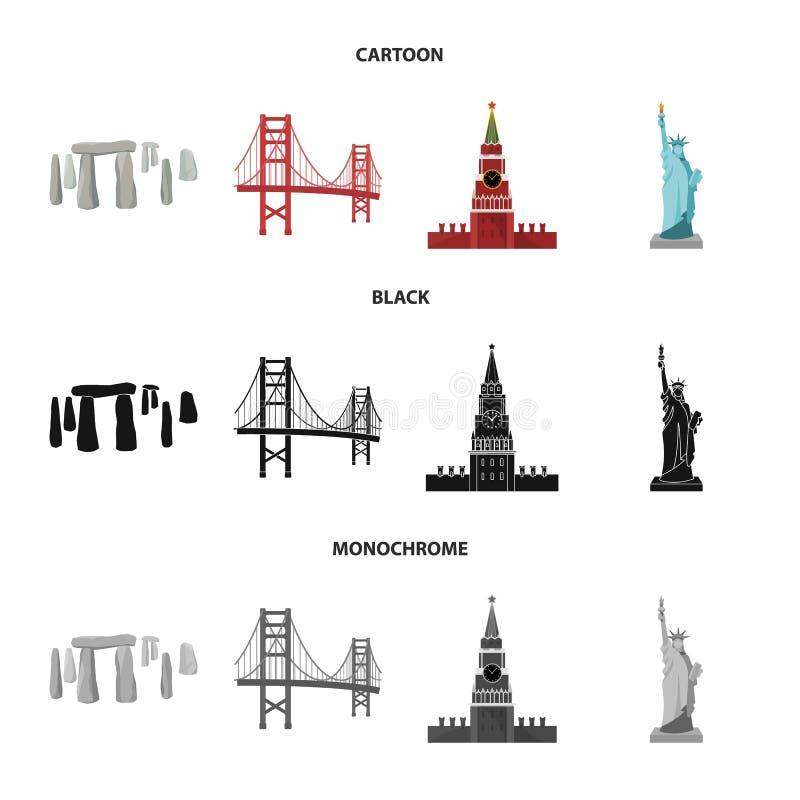 Vistas de la historieta de los países diferentes, negro, iconos monocromáticos en la colección del sistema para el diseño Símbolo ilustración del vector