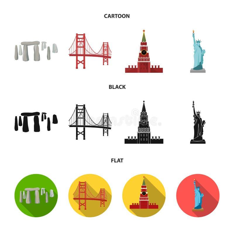 Vistas de la historieta de los países diferentes, negro, iconos planos en la colección del sistema para el diseño Acción famosa d ilustración del vector