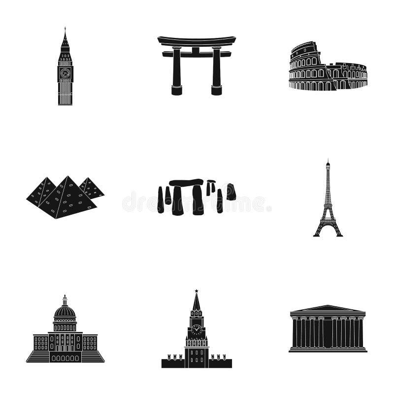 Vistas de los países del mundo Edificios y monumentos famosos de los países diferentes y de las ciudades Icono de los países ilustración del vector