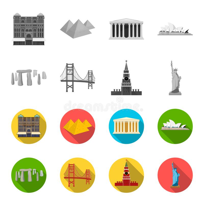 Vistas de los países diferentes monocromáticos, iconos planos en la colección del sistema para el diseño Acción famosa del símbol libre illustration