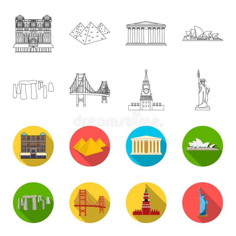 Vistas del esquema de los países diferentes, iconos planos en la colección del sistema para el diseño Web famoso de la acción del libre illustration