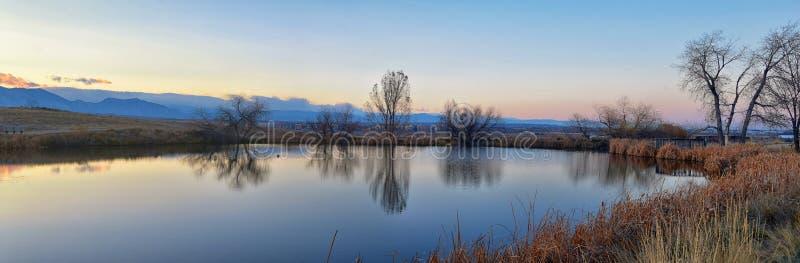 Vistas do trajeto de passeio da lagoa de Josh's, do por do sol refletindo em Broomfield Colorado cercado por Cattails, das plan fotografia de stock
