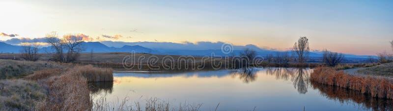 Vistas do trajeto de passeio da lagoa de Josh's, do por do sol refletindo em Broomfield Colorado cercado por Cattails, das plan imagens de stock