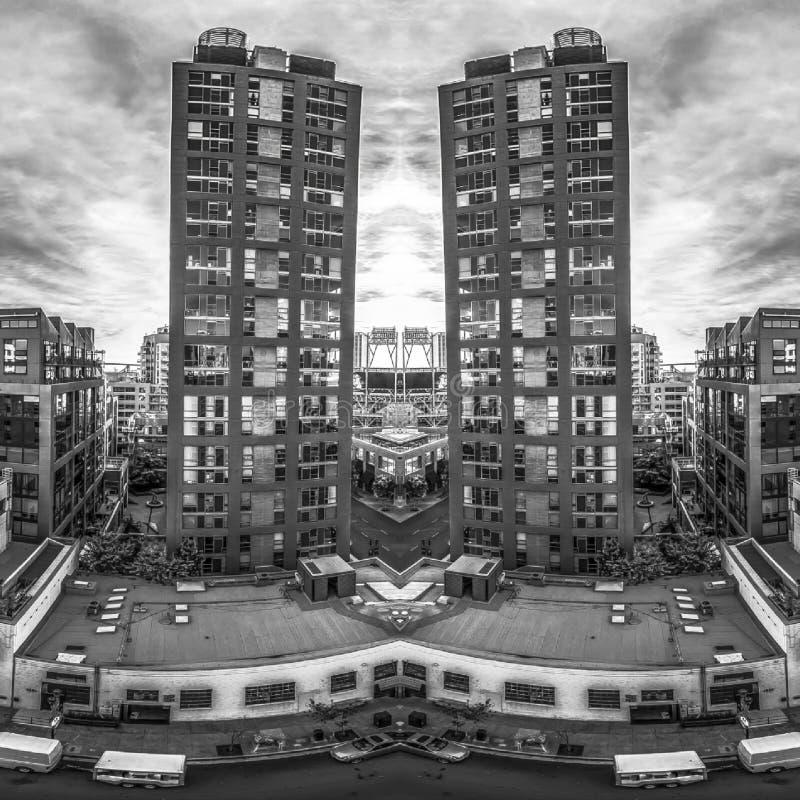 Vistas dobles de la construcción de viviendas en San Diego ilustración del vector