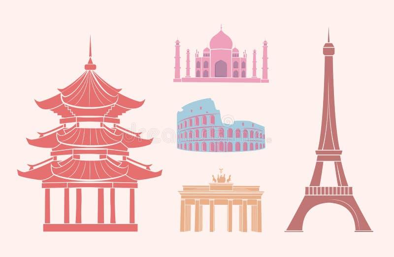 Vistas e atrações de SFamous em etiquetas do curso ilustração royalty free