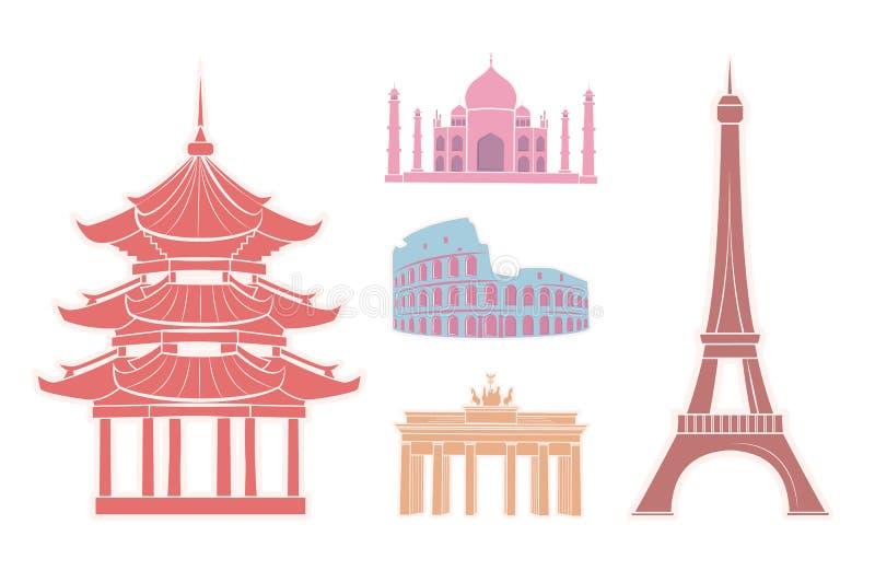 Vistas e atrações famosas em etiquetas do curso ilustração royalty free