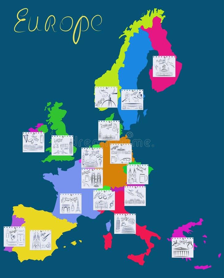 Vistas e símbolos de Europa. ilustração royalty free