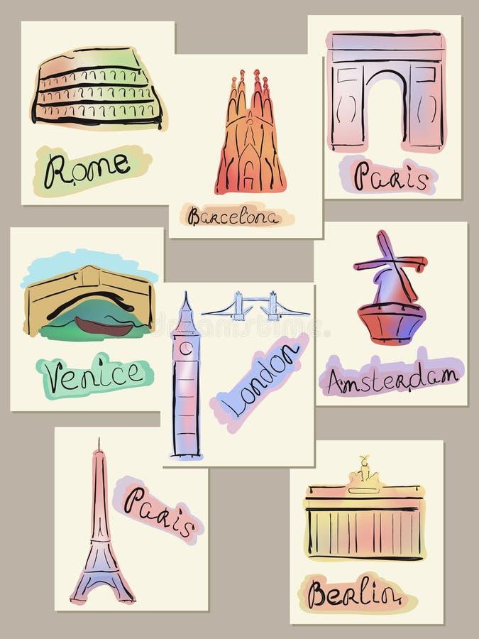 Vistas europeas de las ciudades en watercolours ilustración del vector