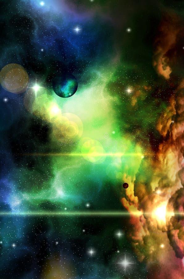 Vistas fantásticas del espacio distante ilustración del vector