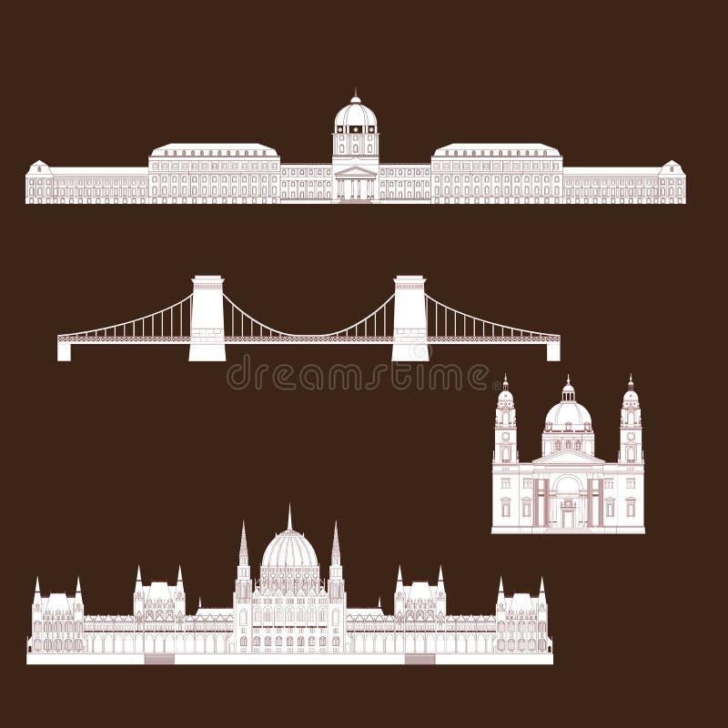 Vistas húngaras de la ciudad en el viaje y el viaje Infographic de la señal de Budapest Hungría Castillo de Buda de los elementos libre illustration